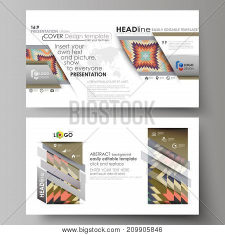Business templates in HD format for presentation slides. Easy editable abstract vector layouts in flat design. Tribal pattern, geometrical ornament in ethno syle, ethnic hipster backdrop, vintage fashion background.