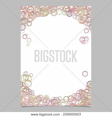 Abstract random circle pattern cover template - vector page background design from light toned rings