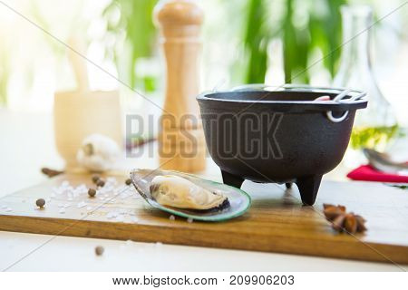 Restaurant Cuisine, Healthy Delicatessen Seafood Soup On A Cutting Board