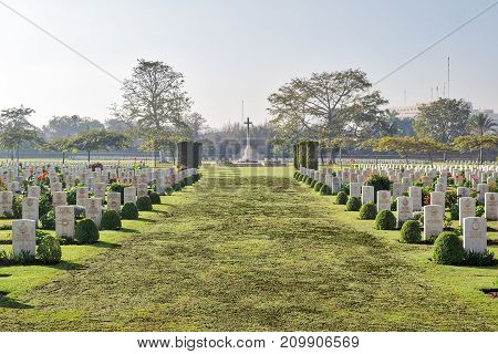 Cairo, Egypt - December 7, 2016: Heliopolis Commonwealth War Cemetery contains 1742 burials of the Second World War opened in October 1941
