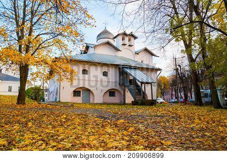 VELIKY NOVGOROD RUSSIA -OCTOBER 19 2017. Veliky Novgorod Russia. Church of the Myrrh-bearers at the Yaroslav courtyard Veliky Novgorod Russia