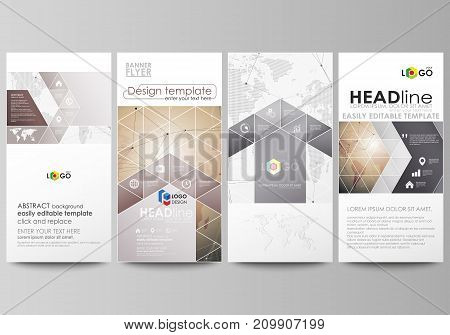 The minimalistic abstract vector illustration of the editable layout of four modern vertical banners, flyers design business templates. Global network connections, technology background with world map.