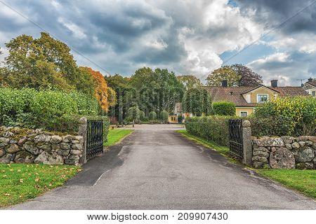 Vaxjo, Sweden - September 2017. Picture Of Old Scandinavian House.