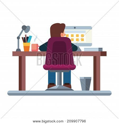 Business man at his desk is working on the laptop computer. Flat modern illustration