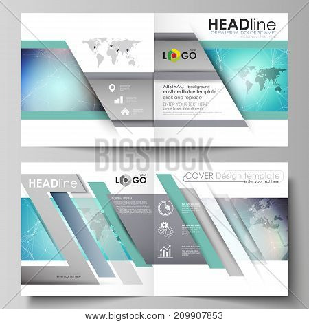 The vector illustration of the editable layout of two covers templates for square design bi fold brochure, magazine, flyer, booklet. Molecule structure, connecting lines and dots. Technology concept