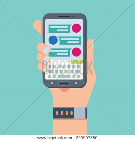 Flat mobile phone chat message notifications, hand with smart phone and chatting bubble speeches