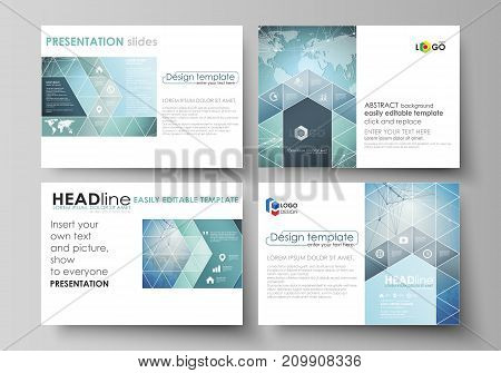 The minimalistic abstract vector illustration of the editable layout of the presentation slides design business templates. Chemistry pattern, connecting lines and dots. Medical concept