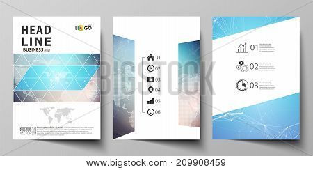 The vector illustration of the editable layout of three A4 format modern covers design templates for brochure, magazine, flyer, booklet. Molecule structure. Science, technology concept. Polygonal design.