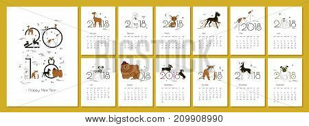 Monthly creative calendar 2018 with dog breeds. Concept vector vertical editable template. Symbol of the year in the Chinese calendar. Minimalism. Isolated. Memphis. A4. Vector illustration.