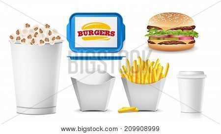 Fast Food Mock Up Set Vector. White Clean Blank. Template For Branding Design. Fast Food Packaging. Isolated On White