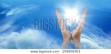 Hands gesturing against white background against idyllic view of cloudscape against sky