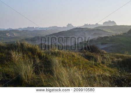 Katwijk, Holland - Oktober15, 2017: View of the sandy Coepelduynen in Katwijk in early morning sunlight