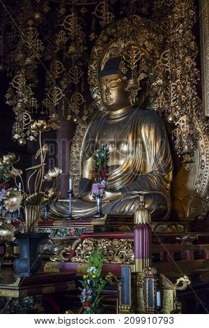 Kyoto, Japan - May 18, 2017: Golden Buddha in Chion-In Temple Kyoto, Japan Chion-in in Higashiyama-ku, Kyoto, Japan is the headquarters of the Jodo-shu