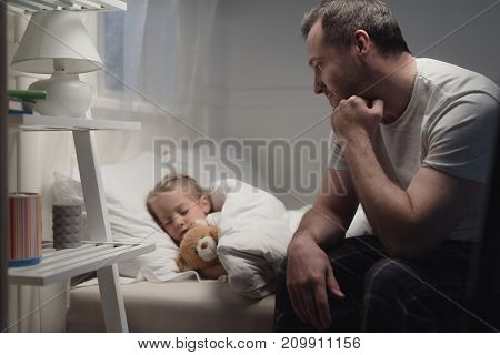 Father And Daughter At Bedtime