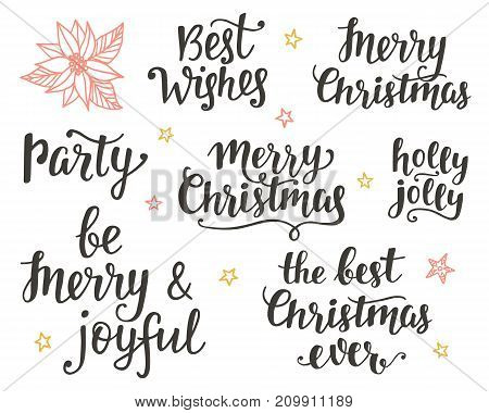 Christmas holidays hand lettering set. Calligraphy phrases collection. Typography design elements for greeting cards, invitations. Vector illustration