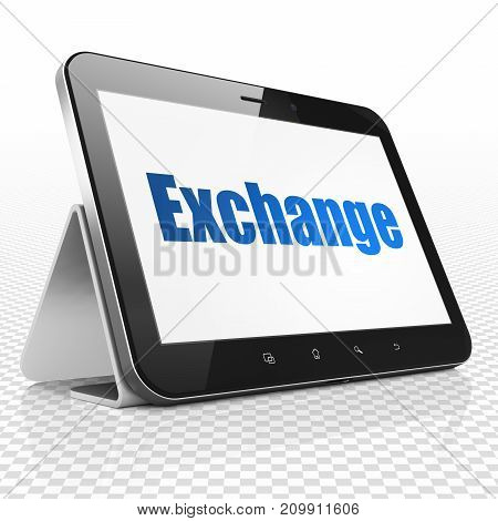 Currency concept: Tablet Computer with blue text Exchange on display, 3D rendering
