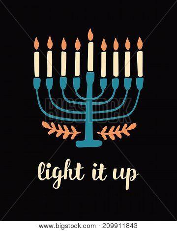 Happy Hanukkah, hand written brush lettering. Jewish holiday elegant greeting card template with menorah. Flyer, poster, banner, party invitation design. Vector illustration