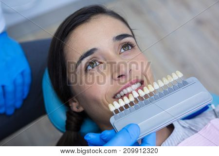 Overhead view of dentist holding medical equipment while examining woman at clinic