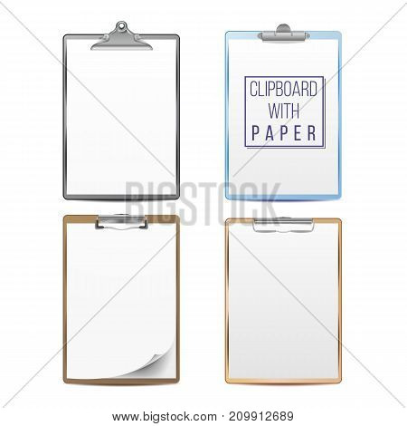 Realistic Clipboard With Paper Vector. Mock up For Your Design. A4 Size. Isolated On White Background Illustration