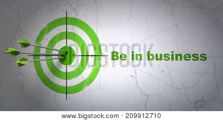 Success business concept: arrows hitting the center of target, Green Be in business on wall background, 3D rendering