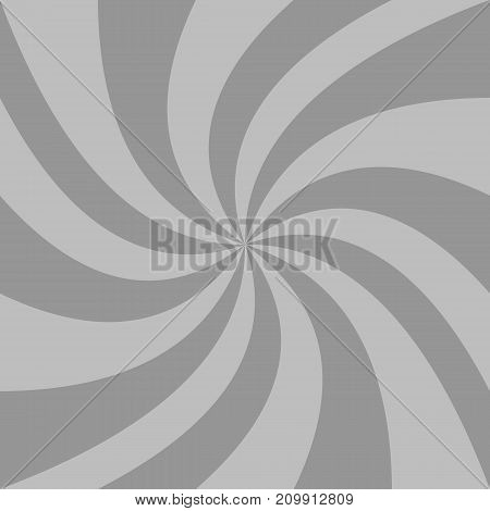 Abstract spiral background from grey curved ray stripes - vector graphic