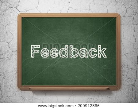 Business concept: text Feedback on Green chalkboard on grunge wall background, 3D rendering