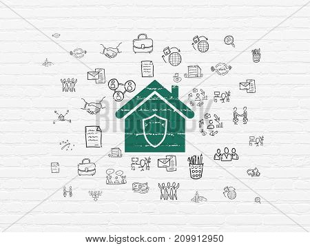 Business concept: Painted green Home icon on White Brick wall background with  Hand Drawn Business Icons