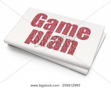 Business concept: Pixelated red text Game Plan on Blank Newspaper background, 3D rendering