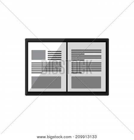 Icon magazine on white background. Inside magazine. Vector illustration
