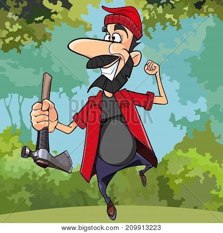cartoon happy lumberjack running through the woods with an axe