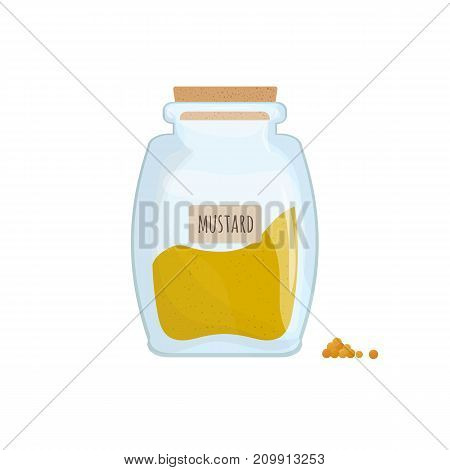 Mustard powder stored in clear jar isolated on white background. Pungent condiment, food spice, cooking ingredient in transparent kitchen container. Colored vector illustration