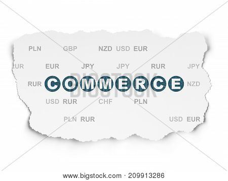 Finance concept: Painted blue text Commerce on Torn Paper background with  Currency