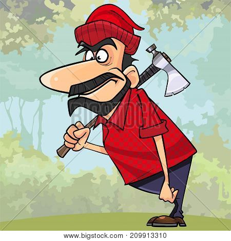 cartoon surprised man lumberjack standing with an axe in the woods