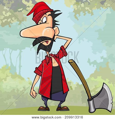 cartoon surprised the woodcutter next to the axe in the woods