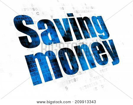 Finance concept: Pixelated blue text Saving Money on Digital background