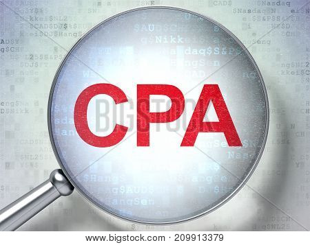 Finance concept: magnifying optical glass with words CPA on digital background, 3D rendering