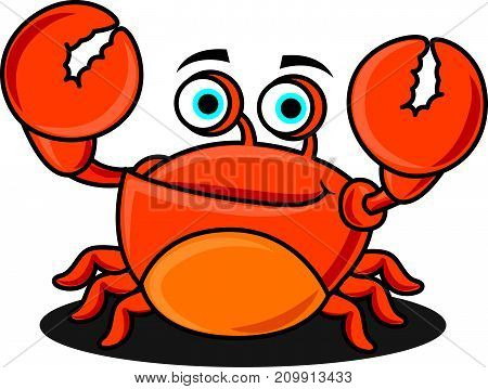 Cartoon character cute seafood crab raising up claws and smile. Vector mascot illustration.