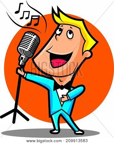 Cartoon male superstar singer singing and holding a microphone with stand. Singer performing happily. Vector character mascot.
