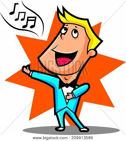 Cartoon Male superstar singer performing with star background, isolated