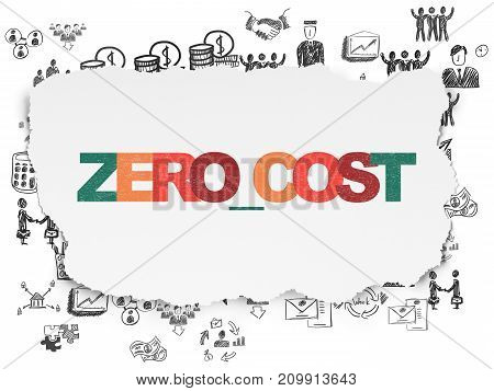 Business concept: Painted multicolor text Zero cost on Torn Paper background with  Hand Drawn Business Icons