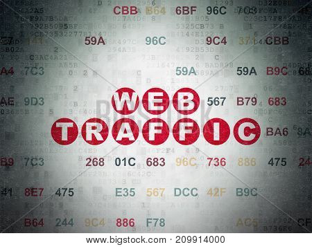 Web development concept: Painted red text Web Traffic on Digital Data Paper background with Hexadecimal Code