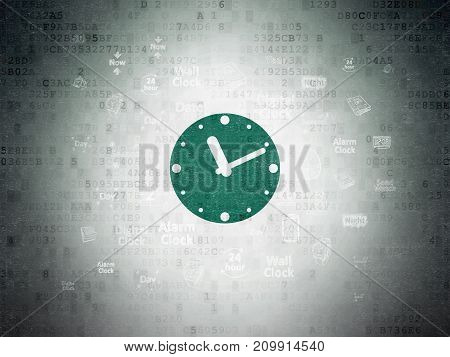 Time concept: Painted green Clock icon on Digital Data Paper background with  Hand Drawing Time Icons