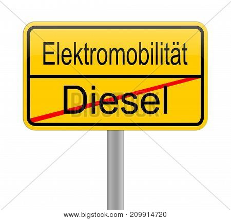 yellow e-Mobility street sign - in german