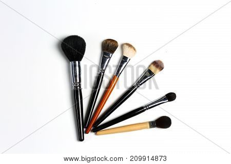 makeup brushes set for professional on white background.