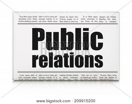 Marketing concept: newspaper headline Public Relations on White background, 3D rendering