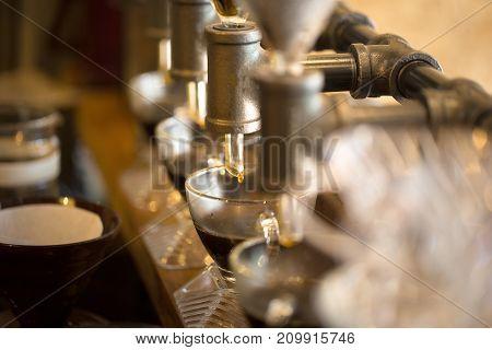 Coffee Drip Style, Show Of Drip Coffee.selective Focu
