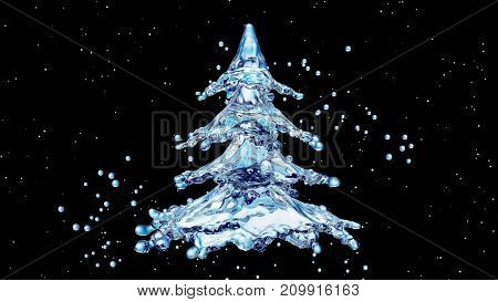 Christmas water splash tree on black background. 3d rendering