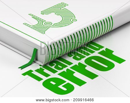 Science concept: closed book with Green Microscope icon and text Trial And Error on floor, white background, 3D rendering