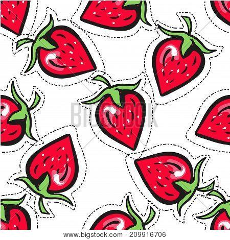 Simple cute fashion badge sticker seamless cartoon strawberry background stock