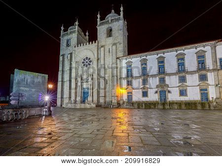 View of the facade cathedral at night. Porto. Portugal.